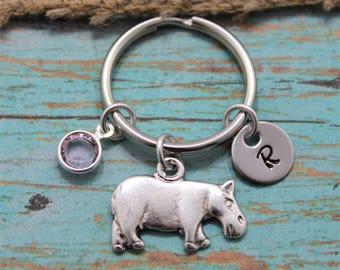 Hippopotamus Keychain - Hippopotamus Jewelry - Hippo Accessories