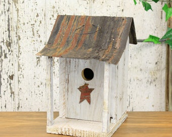 Rustic Painted Wooden Birdhouse With Star & Sloped Tin Roof (Assorted Styles)