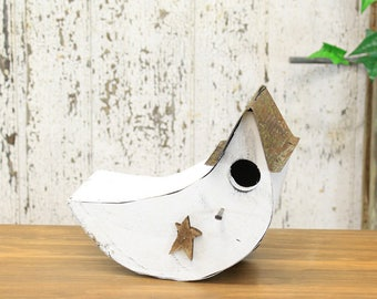 White Painted Rustic Wooden Moon Birdhouse