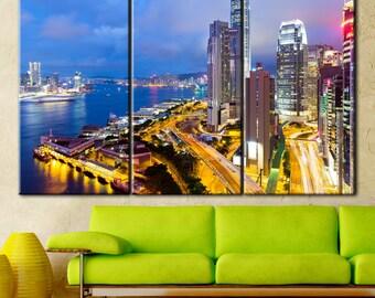 Hong Kong Canvas, Hong Kong City, Hong Kong Skyline, Hong Kong Print, Hong Kong Photo, Hong Kong Poster, Hong Kong Wall Art, Hong Kong