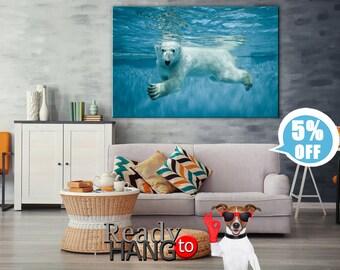 Polar Bear photo, Zoo animals, Canvas, Wall decor, Home decor, Stretched, Canvas art, Extra Large Wall Art, Anniversary Gift, Canvas prints