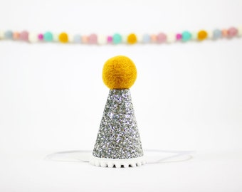 New Years Eve Party Hat | Gold and Silver Birthday Hat | Celebration Photo Prop | Silver + Gold + White