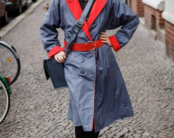 80s vintage jacket trench coat grey red West Germany Detective Inspector agent