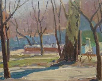 MID CENTURY ART Vintage Landscape Original Oil Painting by a Soviet Ukrainian Artist Ovsyannikova E. 1950s, Signed, Soviet Ukrainian Art