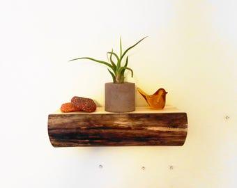Attractive Log Shelf   Rustic Wood Shelves   Natural Wood Decor   Log Cabin Decor    Floating