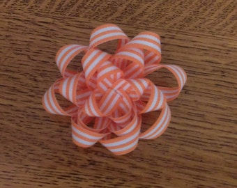 Orange and white Easter/Spring Flower Hair bow