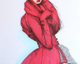 Original Christian Dior Inspired Fashion Illustration