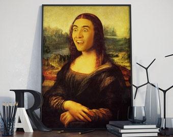 Mona Lisa x Nicolas Cage - Poster, Nicolas Cage, Faceswap, Portrait, Funny Gifts