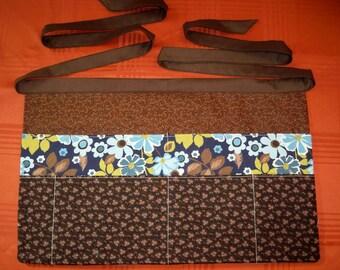 Utility Apron, Teacher Apron, Craft Apron, Muti-Pocket Apron Brown and blue