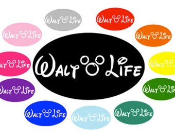 WALT LIFE Disney Inspired Quality Vinyl Decal in Oval, Mickey Mouse, Car Decal, Yeti Decal, Gift