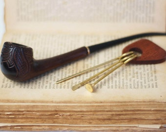 Smoking pipe+cleaning tool -Long Pipe- Tobacco smoking pipe -Pipe-Wooden pipe -Tobacco bowl-Wooden Pipes -Exclusive Wood Pipes-Women's Pipe