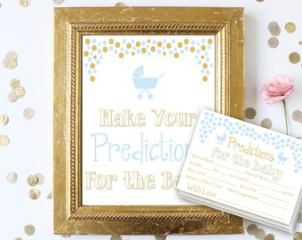Baby Predictions Sign and Cards ~ Blue and Gold Baby Shower Game ~ Baby Boy Pram ~ Printable Game 0024BG
