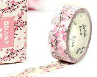 Pink Sakura Japanese Washi Tape Deco Tape - 15mm X 7 metres