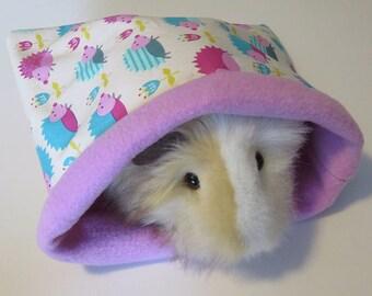 MEDIUM Pink hedgehogs Cuddle sleep sack bags for hedgehogs/guinea pigs/hamsters/gerbils- reversible fleece small animal bags