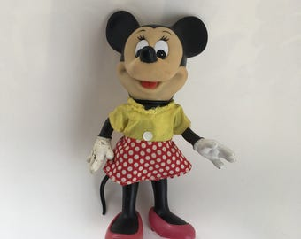 SALE: Minnie Mouse Doll Vintage, Rubber Body, Disney Doll, 1960's, Collectible Doll