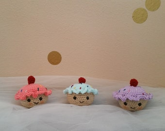 Crochet Cupcake - Toy Cupcake - Toy Rattle - Baby Rattle - Plush Cupcake - Nursery Decor - Baby Shower Gift - Plushy