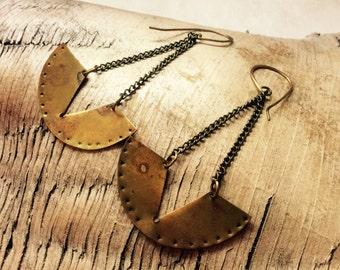 FLASH SALE!! Aged brass pendulum earrings,brass earrings,tribal brass earrings,geometric brass earrings,geometric earrings,pendulum earrings