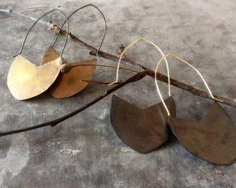 Forged shield earrings,brass shield earrings,copper shield earrings,bohemian earrings,hammered metal earrings,distressed earrings,rustic