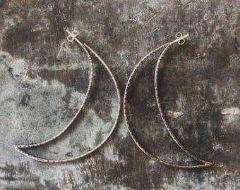 Large crescent moon earrings,crescent moon earrings,crescent moon hoops,crescent moon studs,copper crescent moon earrings,rustic moon studs