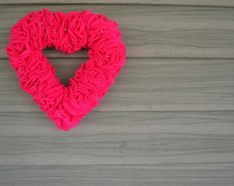 Medium - Pearls and Ruffle Felt Valentine's Day or Wedding Wreath Wall Hanging Decoration