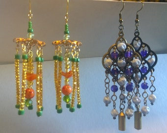 2 styles: Birdcage Orange and Green Or Light Blue and Purple Dangle Long Boho Bohemian Bird Cage gold copper brass OOAK earrings earings