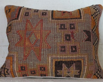 Turkish Kilim Pillow, 20x26 Pillow Case