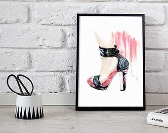wall art, fashion print, shoes illustration - 2 sizes available Giclee print