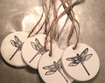 Dragonfly ornaments/ dragonfly gift tags / set of four