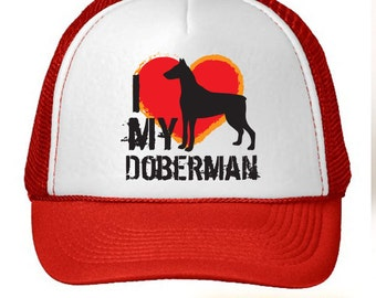 I Love My Doberman Dog Trucker Hat