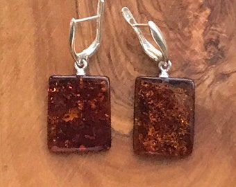 Baltic Amber  Sterling Silver Cognac Color Earrings