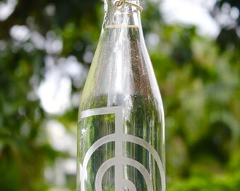 16oz. Etched Cho Ku Rei design reusable glass water bottle. Ecofriendly