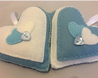 Hand stitched light blue and White hanging hearts, home decor, any occassion, set of 2 hanging felt hearts. (HH008)