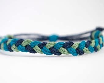 Blue Ocean Tones Braided Hemp Cord Stackable Bracelet - Handmade Adjustable