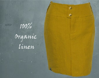 organic linen pencil skirt, skirt biological linen, GOTS certified linen skirt