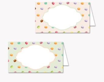 Macaron Party Name Label Tent. Buffet Label Tent. Party Instant download (Personalized DIY Printables)