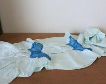 Vintage Japanese Silk Obiage /// Obiage, Silk scarf, Kimono scarf, Blue silk scarf, blue Silk Obiage, Silk Kimono, Vintage Blue Silk sash