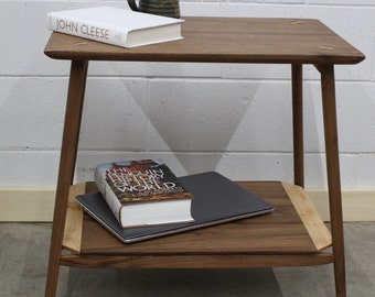 Walnut Bedside Table with maple accents, side table