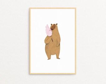 Candy Bear Print , Nursery Print, Illustration Print, UNFRAMED Print, Kids Room Decor, Hand Made, Drawing, Baby Wall Art