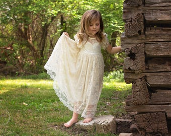 open back flower girl dress, girls lace dress, country lace dress, rustic flower girl dress, shabby chic lace dress, boho flower girl dress