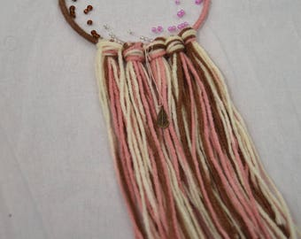 neapolitan dream catcher, pink white and brown dream catcher, dreamcatcher