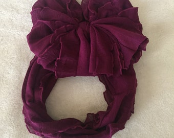 Red plum Ruffle Messy Bow Headband