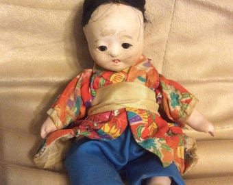 """Small 6"""" All Bisque Oriental Asian Seated Baby Doll Silk Robe"""