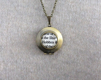 Lord of the Rings 'The Shire, Hobbits' Tolkien Book Page Locket Necklace.