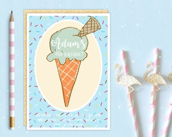 Boys Ice Cream Cone Invite | Sweet Candy Shop | Birthday Party Invitation | Printable Digital Download | Customised Personalised
