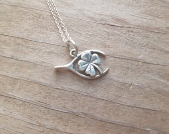 St Patrick's Day Necklace, Lucky Necklace, Four Leaf Clover, Sterling Silver Necklace, gift for Her, Gift for Daughter