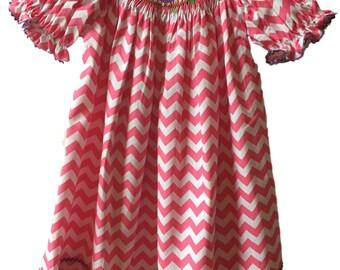 Owl Chevron Smocked Dress - Pink and White Chevron Smocked Bishop Dress