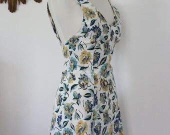 Floral short dress, CACHAREL vintage floral, leaf, Bohemian boho shoulder bare, naked back, crossed straps, Fr 36 UK 8, US 4, S, small