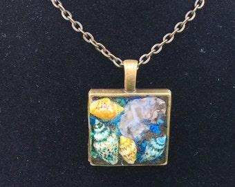 Ocean Seashell square pendant resin necklace