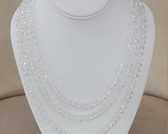 Clear Faceted Crystal Opera Length Necklace 80""