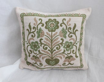 Bohemian Floral Pillow Cover/Vintage Tapestry/Green & Brown/ Throw Pillow